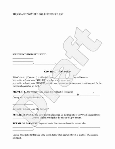 Land Contract Template Ohio Unique Contract for Deed form Land Contract