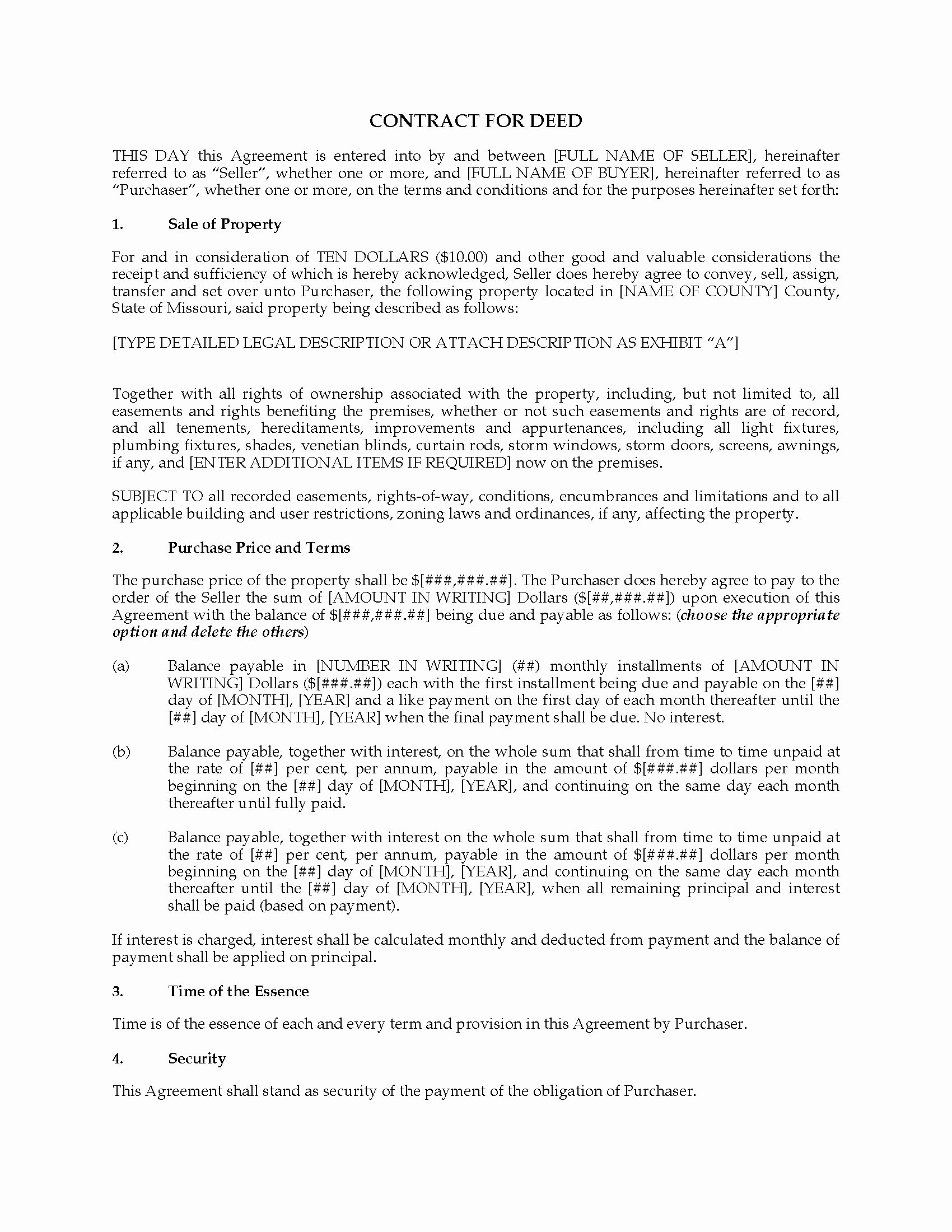 Land Contract Template Ohio Unique Missouri Contract for Deed