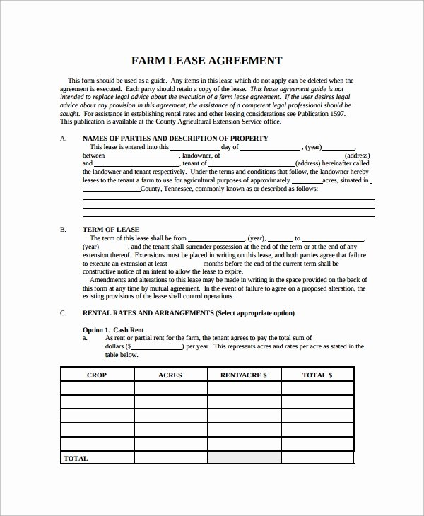 Land Lease Agreement Template Beautiful 9 Sample Land Lease Agreement Templates