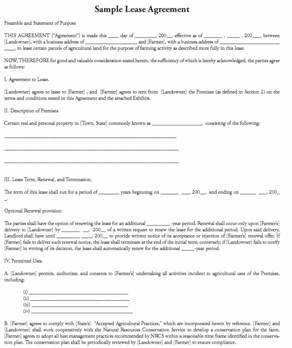 Land Lease Agreement Template Best Of 12 Free Sample Professional Farm Land Lease Agreement