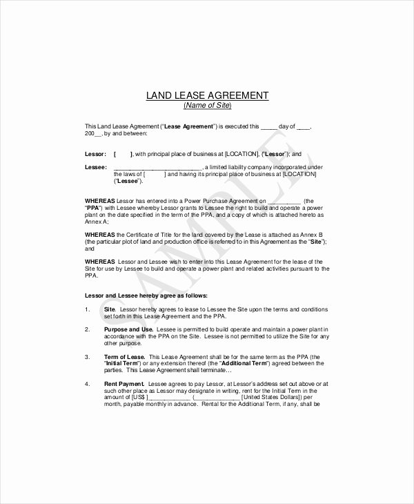 Land Lease Agreement Template Elegant 7 Land Lease Templates Free Sample Example format