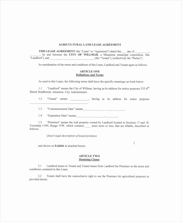 Land Lease Agreement Template Elegant Land Lease Template 7 Free Word Pdf Documents Download