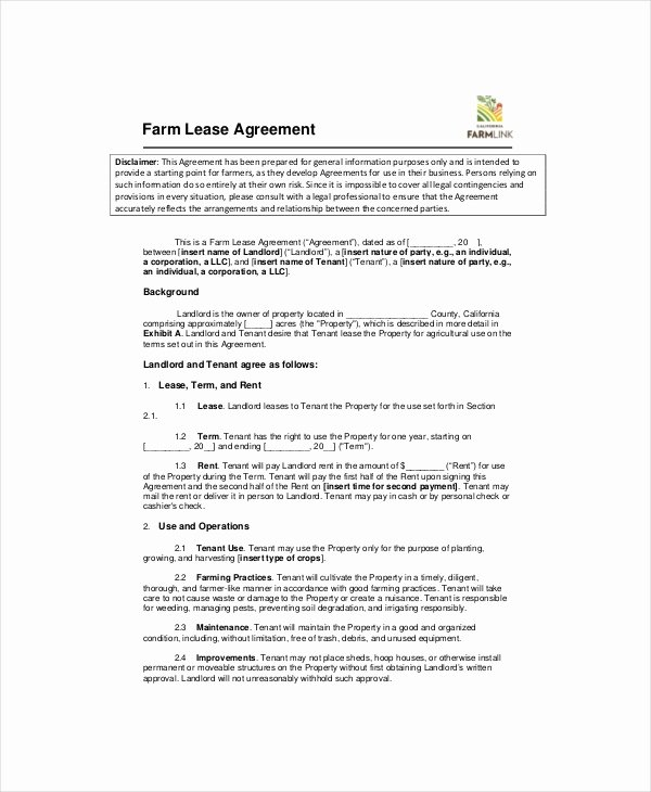 Land Lease Agreement Template Fresh Agricultural Lease Agreement Template Tridentknights