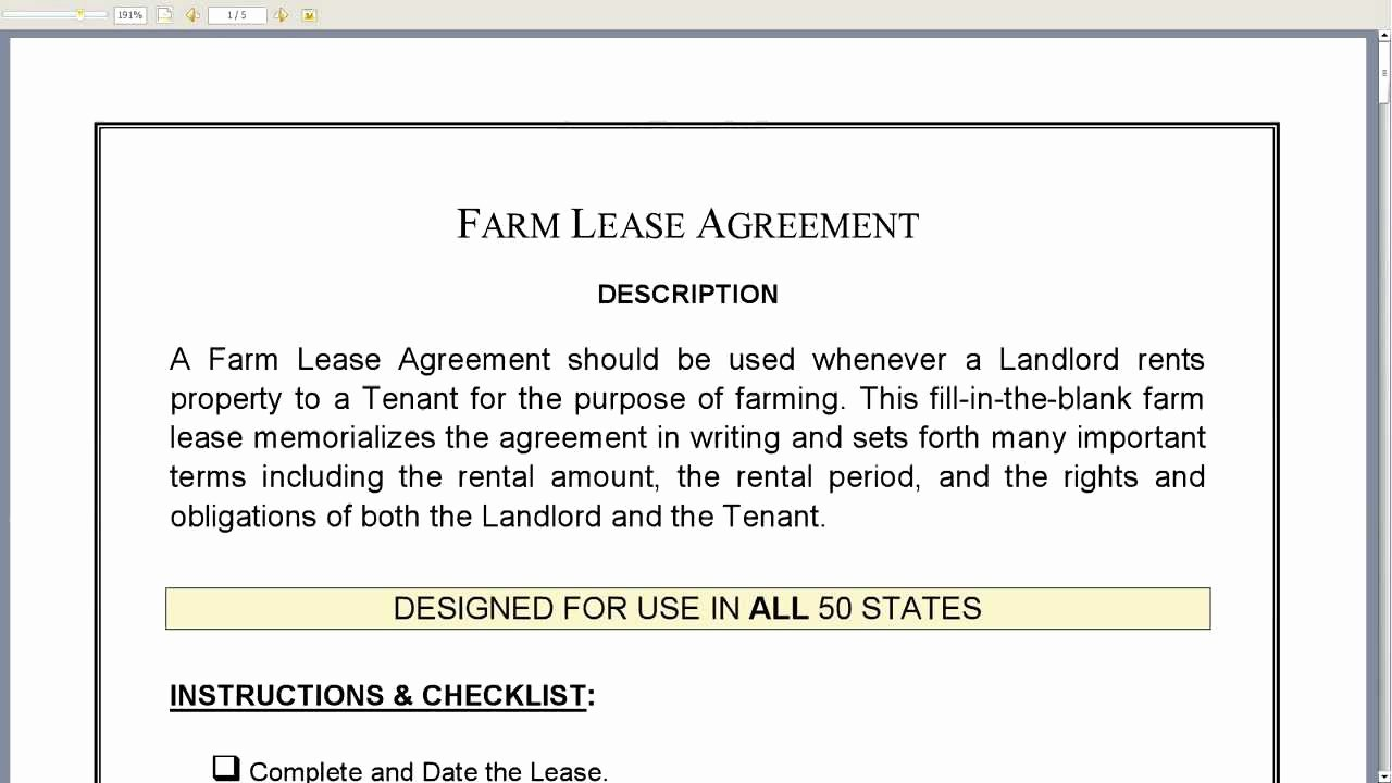 Land Lease Agreement Template Fresh Farm Lease Agreement