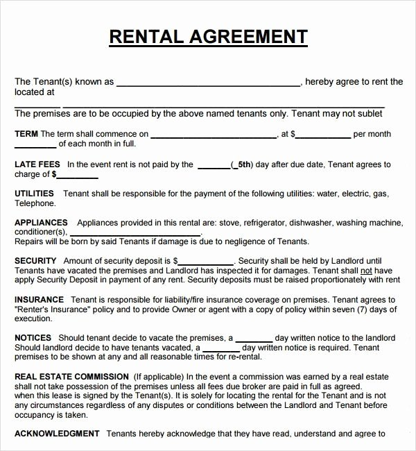 Land Lease Agreement Template Fresh Rental Property Lease Agreement