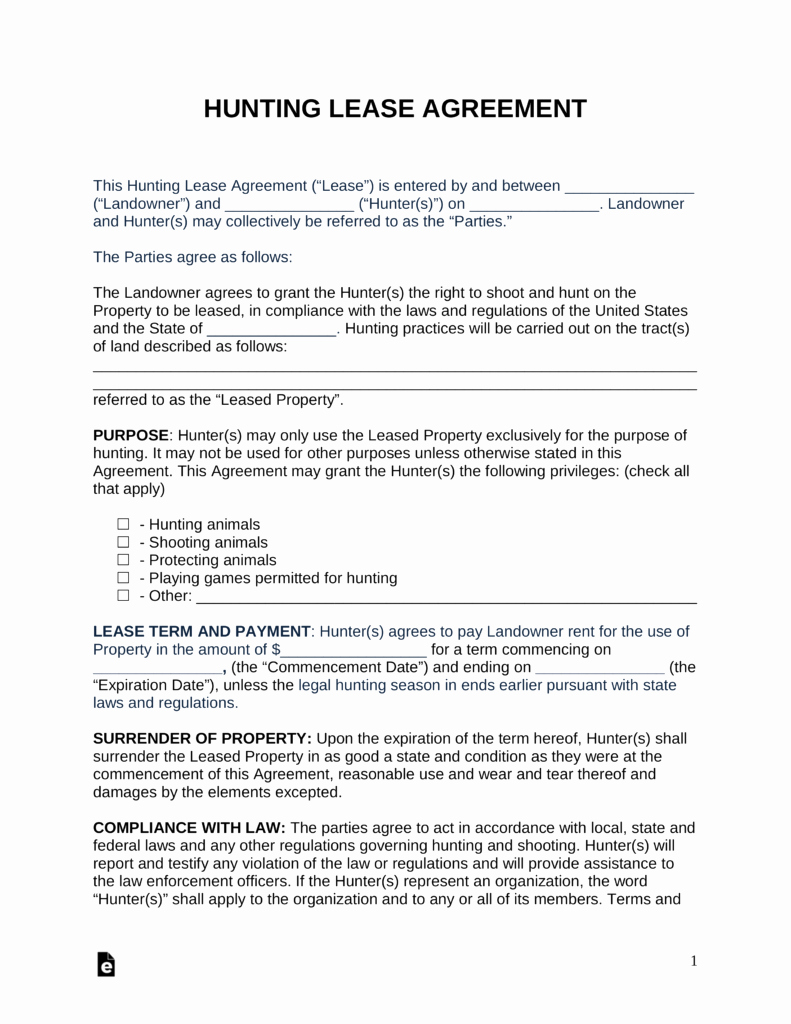 Land Lease Agreement Template Lovely Free Hunting Lease Agreement Pdf Word