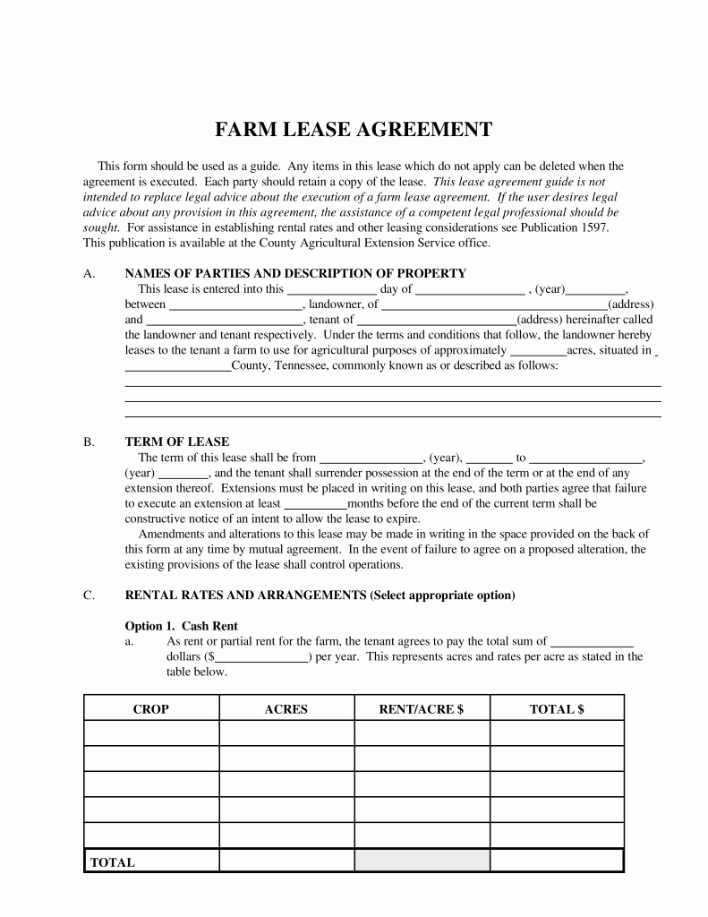 Land Lease Agreement Template Luxury Free Tennessee Farm Lease Agreement Template Pdf
