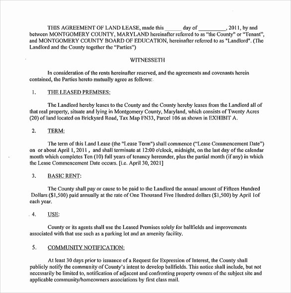 Land Lease Agreement Template New 9 Sample Land Lease Agreement Templates