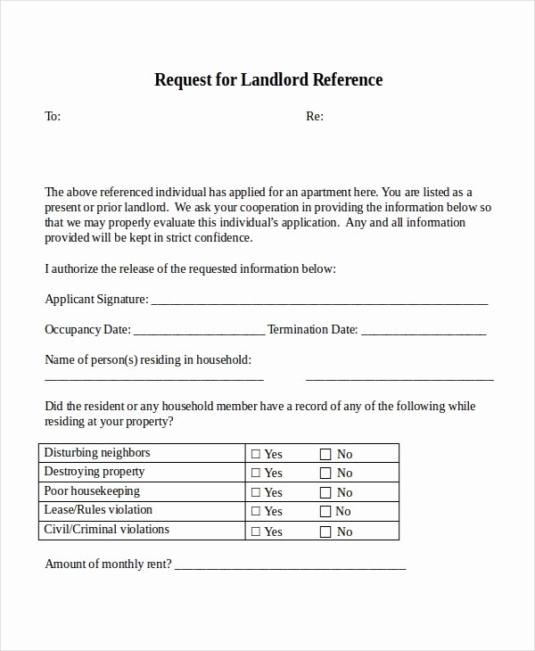 Landlord Reference Letter Template Awesome 18 Reference Letter Template Free Sample Example
