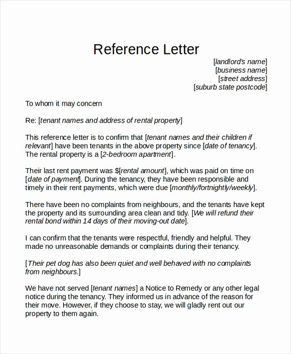 Landlord Reference Letter Template Beautiful 18 Reference Letter Template Free Sample Example