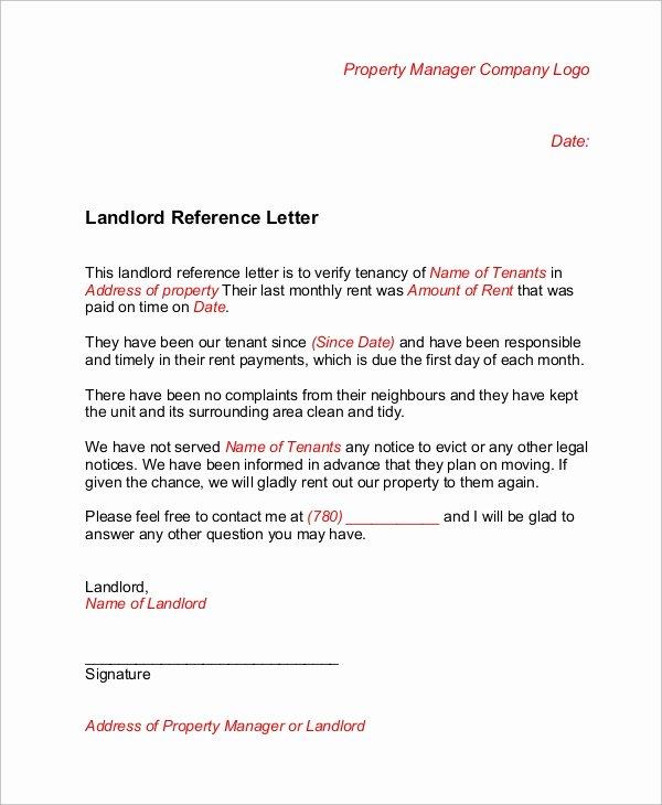 Landlord Reference Letter Template Elegant 6 Sample Landlord Reference Letters