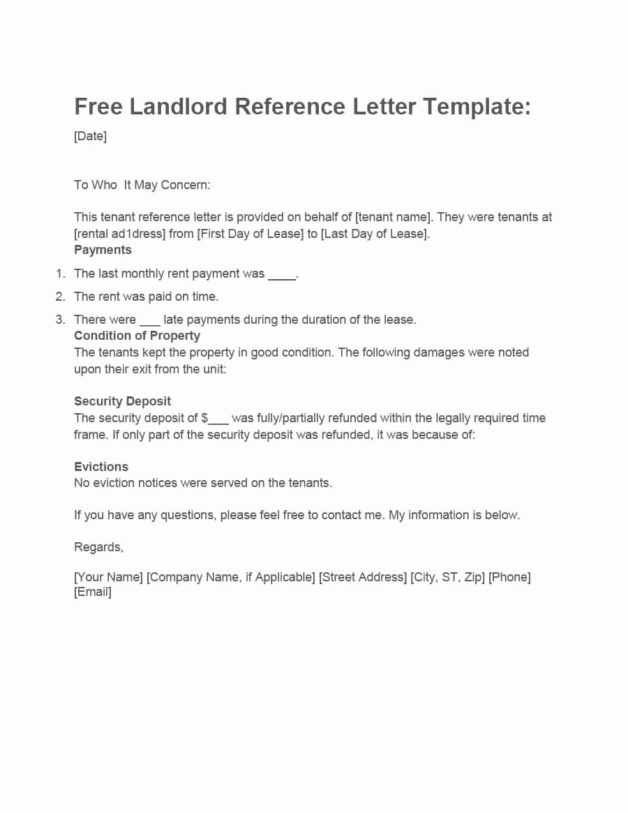 Landlord Reference Letter Template Fresh 40 Landlord Reference Letters & form Samples Template Lab
