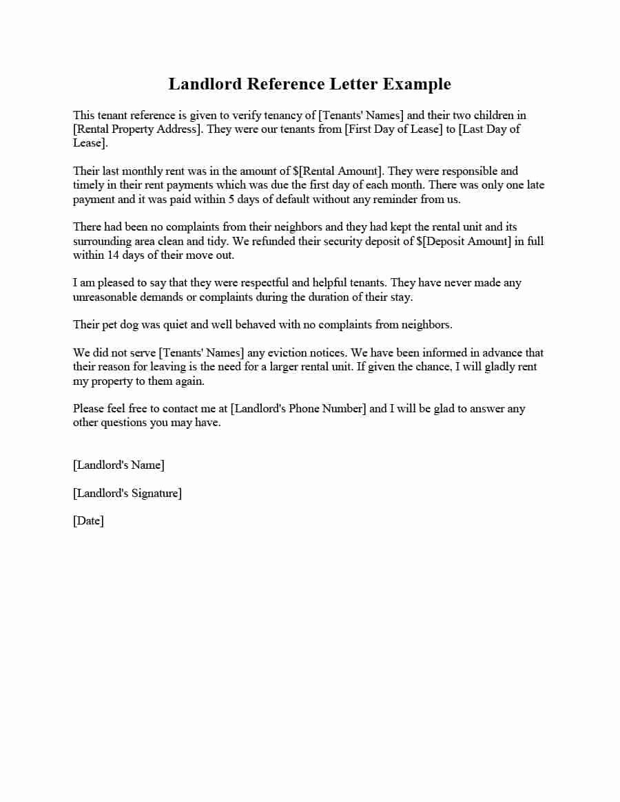 Landlord Reference Letter Template Luxury Landlord Reference Letter Samples & Templates form