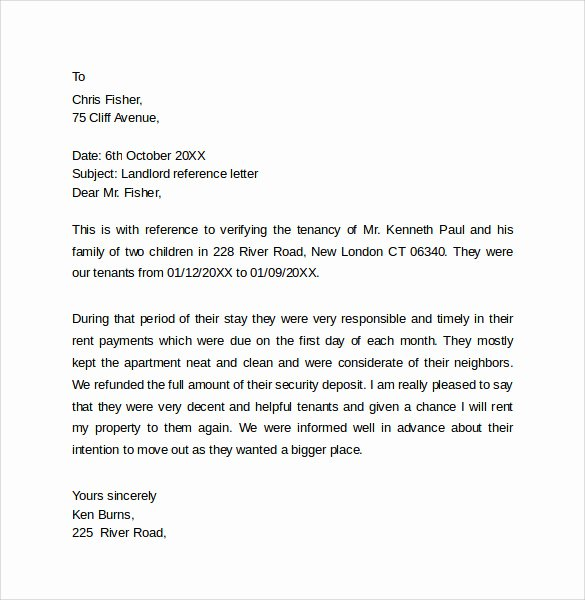 Landlord Reference Letter Template Unique 10 Landlord Reference Letter Templates – Samples