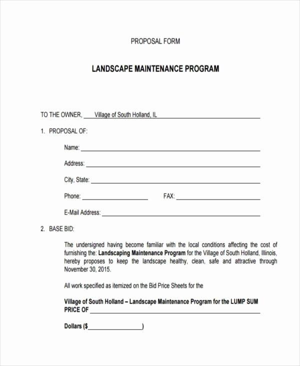 Landscape Bid Template Free Beautiful Blank Proposal forms