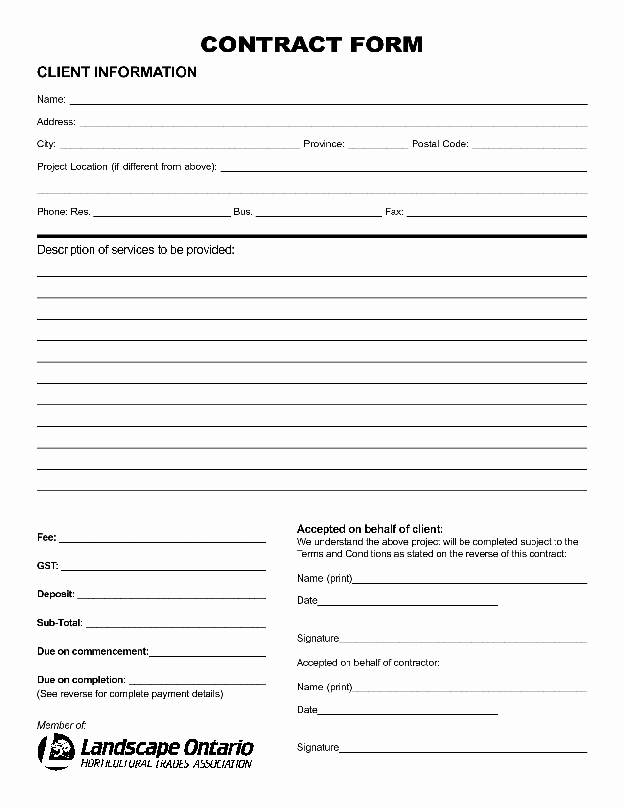 Landscape Bid Template Free Inspirational Contract forms Free Real State