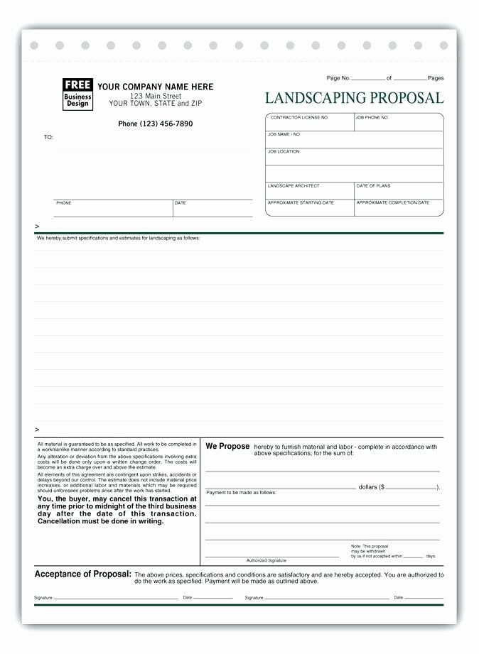Landscape Bid Template Free Lovely Contractor Proposal Bid Proposals Free Sample Example