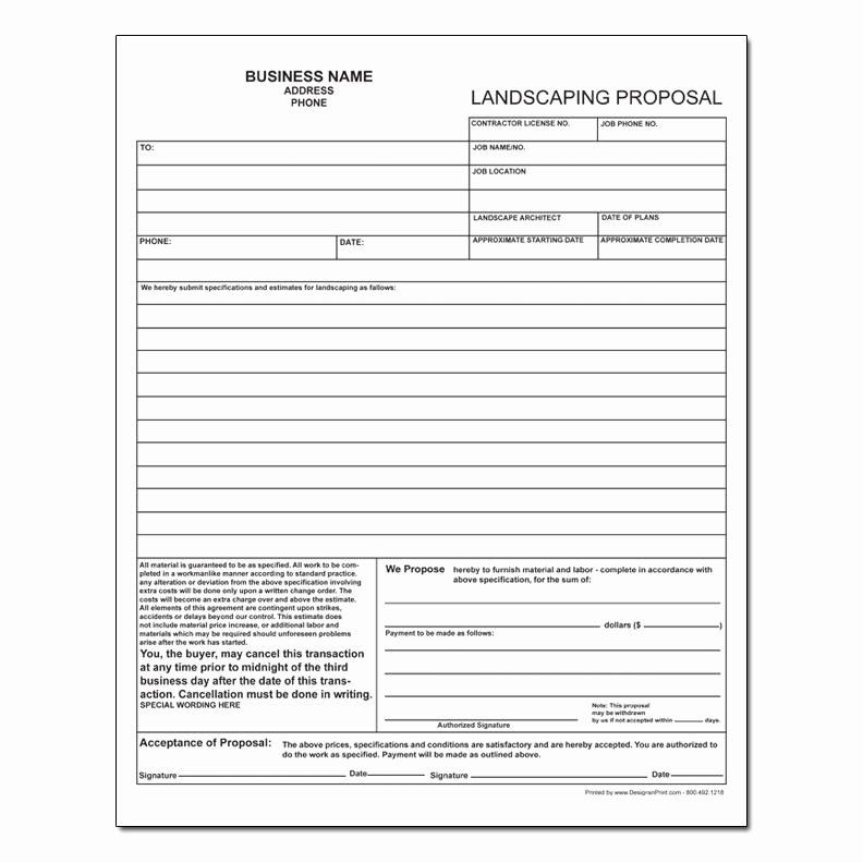 Landscape Bid Template Free Luxury Landscaping Invoice Work order