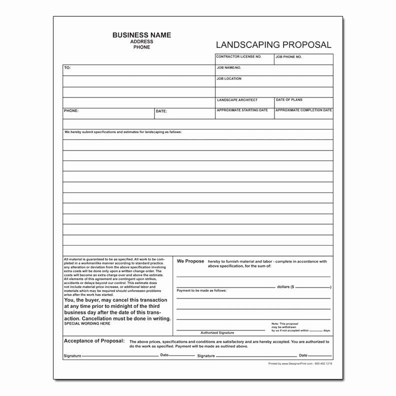 Landscape Bid Template Free Luxury Landscaping Invoice Work order