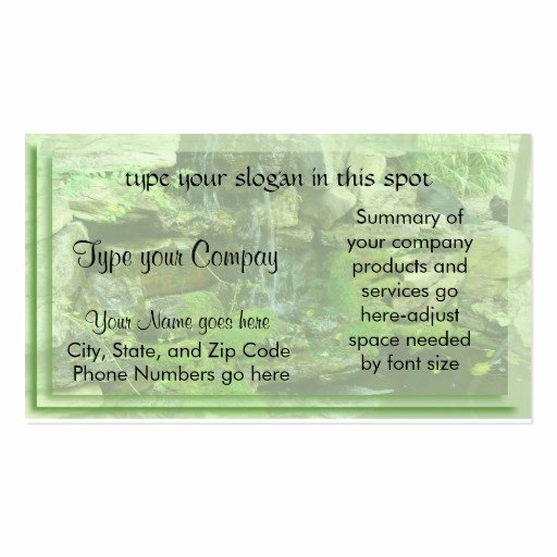 Landscape Business Card Template Best Of Landscaping Waterfall Double Sided Standard Business Cards