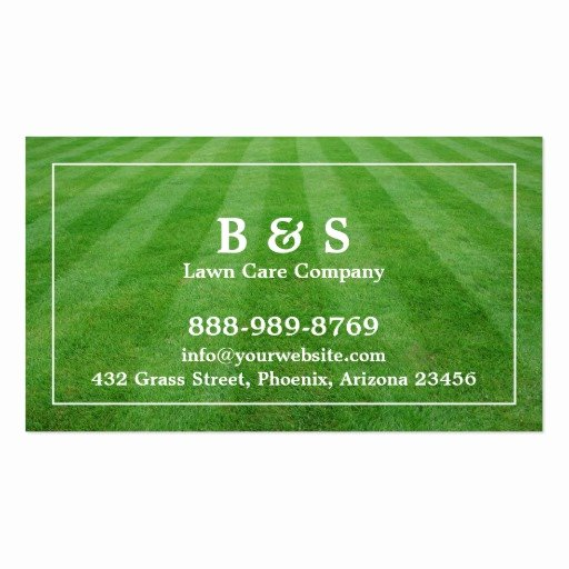 Landscape Business Card Template Elegant Lawn Care Field Grass Business Card