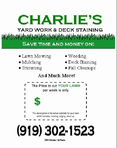Landscape Flyer Template Free Awesome 16 Best Images About Lawn Care Flyers On Pinterest