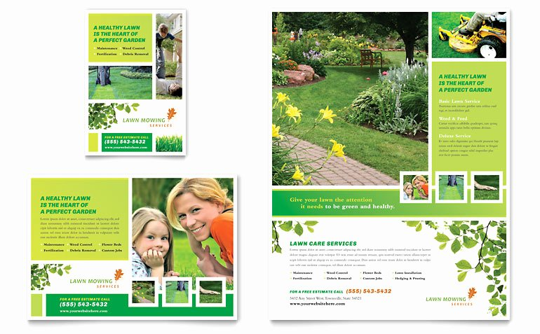 Landscape Flyer Template Free Awesome Lawn Mowing Service Flyer & Ad Template Word & Publisher