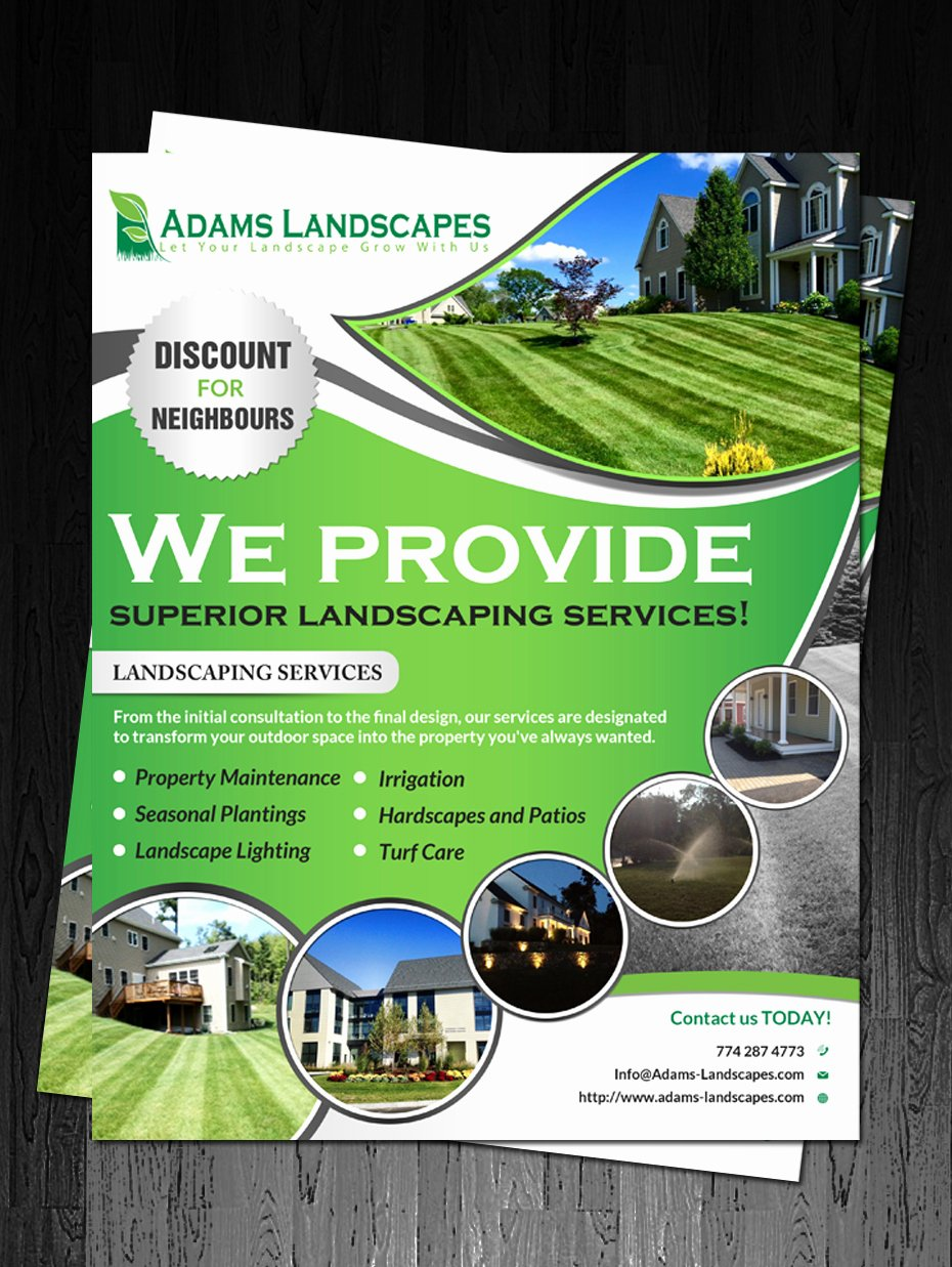 Landscape Flyer Template Free New Professional Bold Landscaping Flyer Design for Adams
