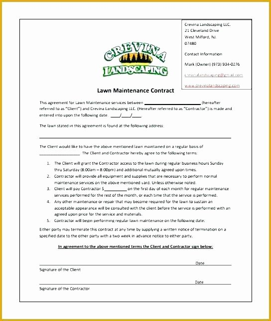 Landscape Installation Contract Template Awesome Landscaping Contract Template – Vitaminacfo