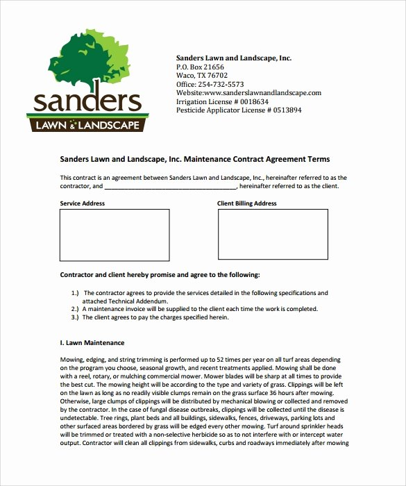 Landscape Installation Contract Template Elegant Lawn Service Contract Template 10 Download Documents In
