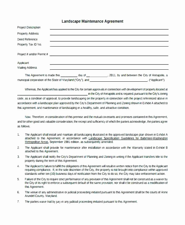 Landscape Installation Contract Template Fresh Landscaping Contract Agreements Landscape Template Sample