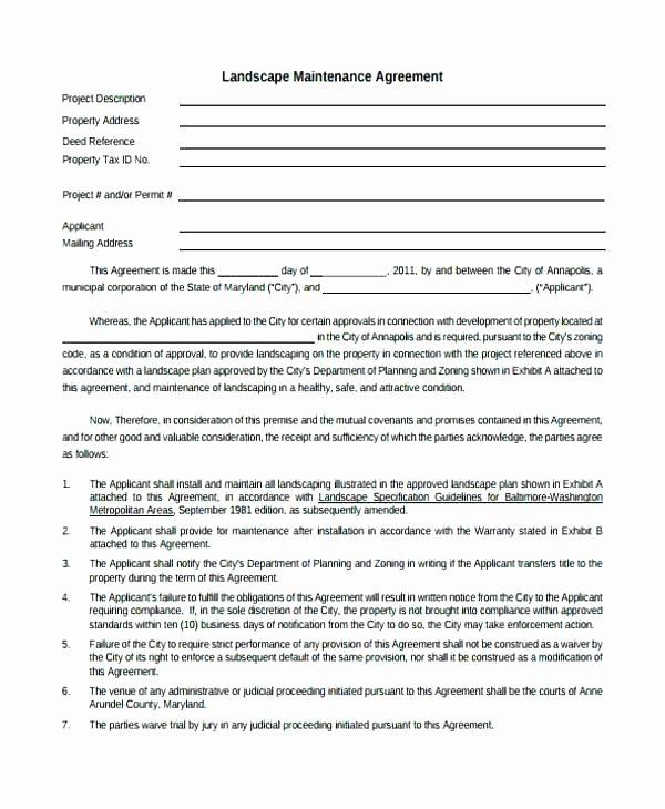 Landscape Maintenance Contract Template Elegant Landscaping Contract Template – Pohlazeniduse