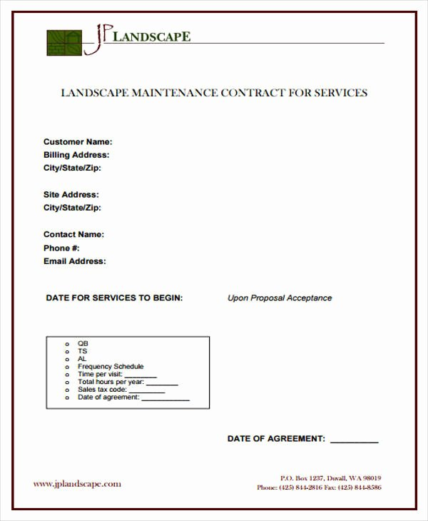 Landscape Maintenance Contract Template Fresh 9 Maintenance Agreement Examples In Word Pdf