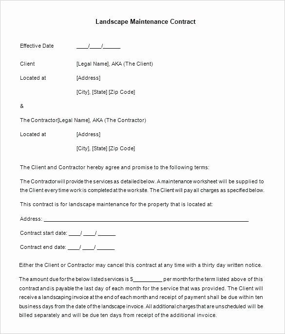 Landscape Maintenance Contract Template Fresh Landscaping Maintenance Agreement Template Lawn Service