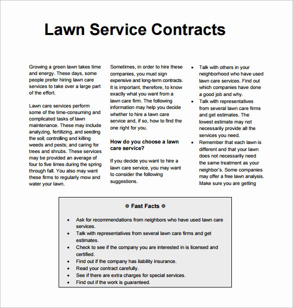 Landscape Maintenance Contract Template Fresh Lawn Mowing Contract Template Templates Resume