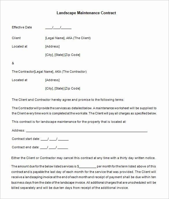 Landscape Maintenance Contract Template Inspirational 20 Maintenance Contract Templates Docs Word Pages