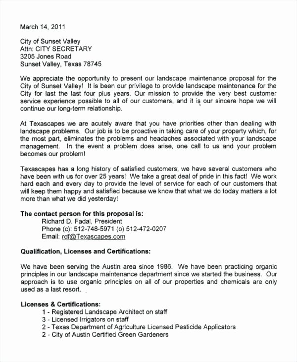 Landscape Maintenance Proposal Template Lovely Landscaping Proposal Letter Example Business Service