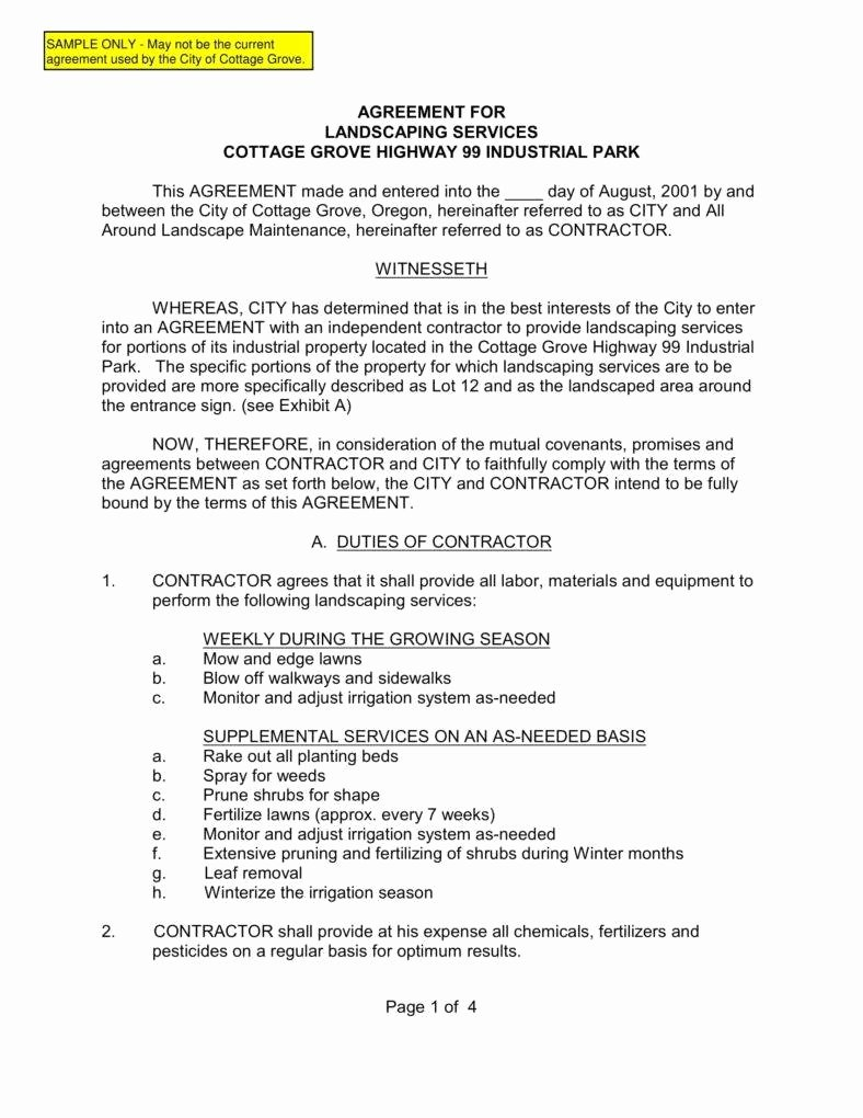 Landscaping Contract Template Free Best Of 6 Landscaping Services Contract Templates Pdf
