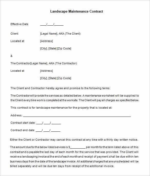 Landscaping Contract Template Free Fresh 20 Maintenance Contract Templates Docs Word Pages