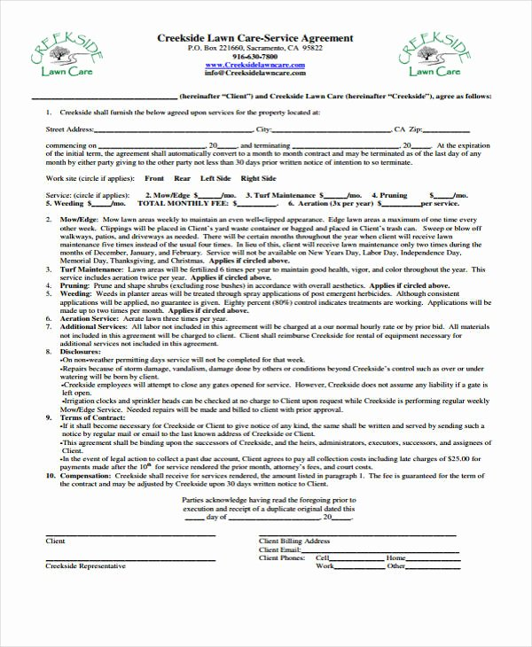 Landscaping Contract Template Free Luxury 10 Lawn Service Contract Templates Free Sample Example