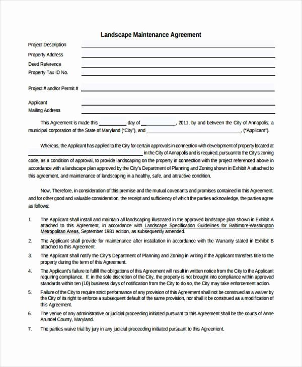 Landscaping Contract Template Free Luxury Sample Maintenance Contract forms 8 Free Documents In