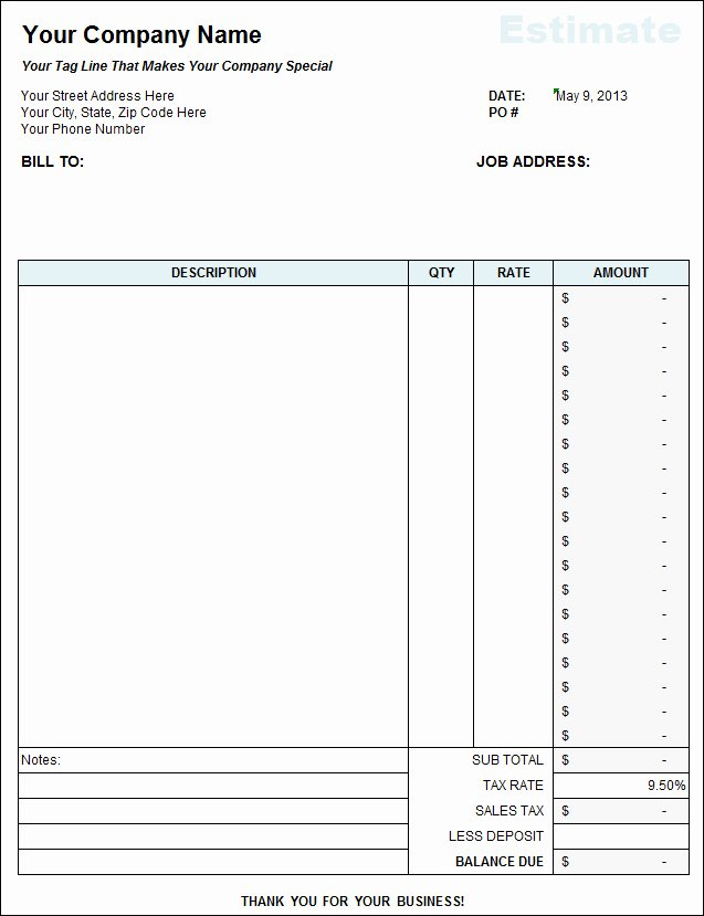 Landscaping Estimate Template Free Awesome Free Landscaping Estimate Template Excel – Amandae