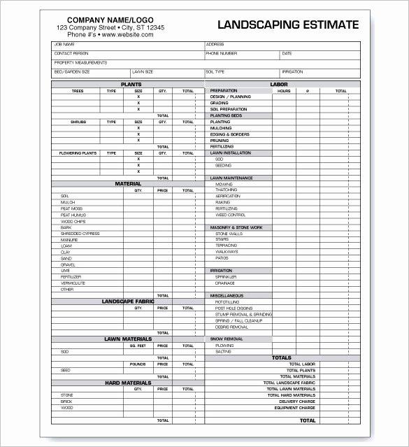 Landscaping Estimate Template Free Beautiful 10 Landscaping Estimate Templates Doc Pdf Excel