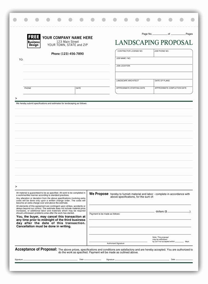 Landscaping Estimate Template Free Beautiful Free Landscape Proposal Template