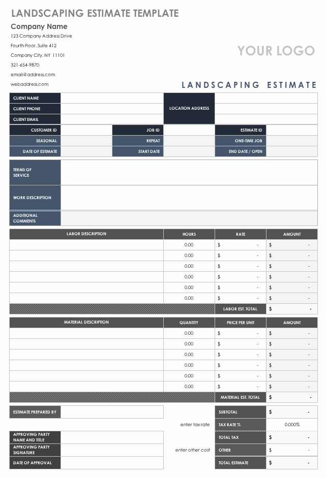 Landscaping Estimate Template Free Lovely Free Estimate Templates