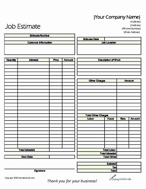 Landscaping Estimate Template Free Unique Estimate Printable forms & Templates