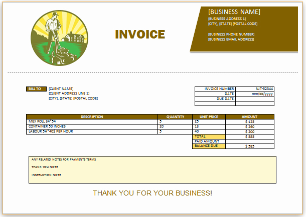 Landscaping Invoice Template Free Beautiful 10 Free Landscaping Invoice Templates [professional
