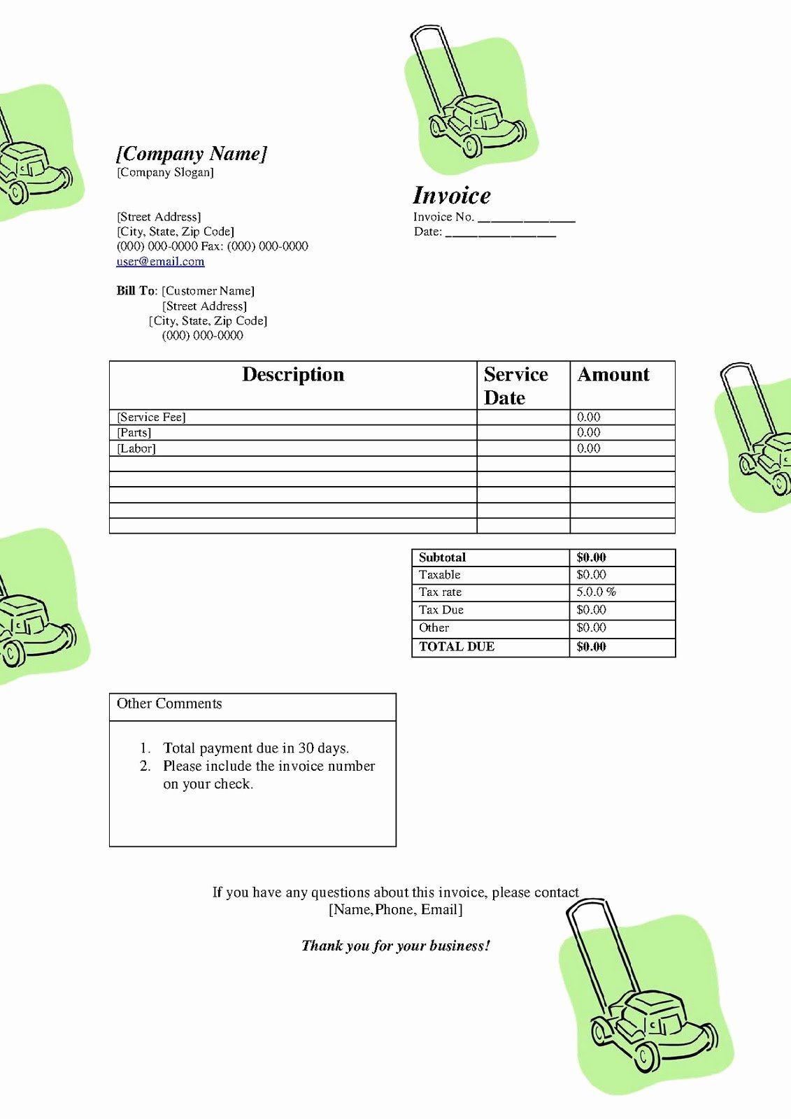 Landscaping Invoice Template Free Best Of Free Printable Invoice Template
