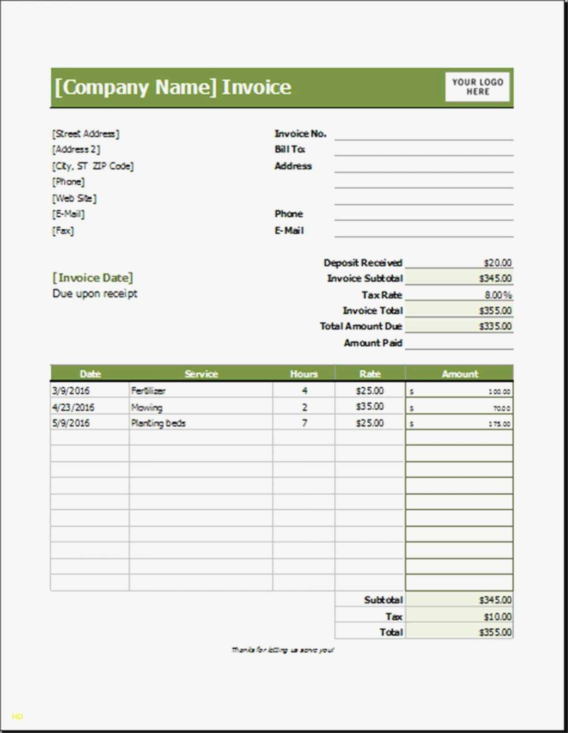 Landscaping Invoice Template Free Best Of Landscaping Invoice Template Excel Free Templates Creative