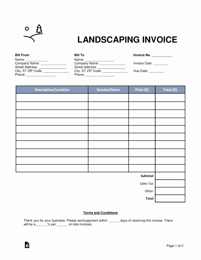 Landscaping Invoice Template Free Elegant Free Landscaping Invoice Template Word Pdf